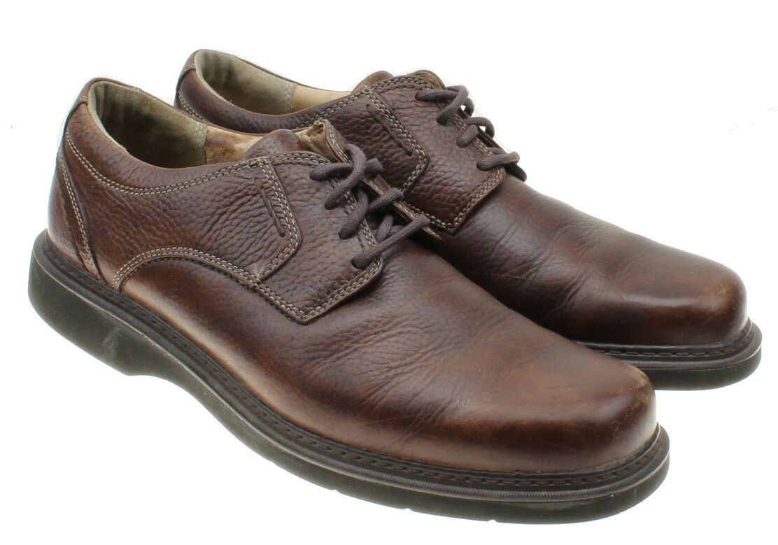 Clarks Men's Brown Pebbled Leather Oxford Lace Up Shoes Size 9.5 M