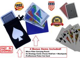 2 Plastic Playing Cards ROYAL Poker Decks + Dealer Cut Cards & BJ Strate... - $6.83