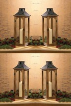 "4 Wooden Pine Candle Lanterns w/ Metal Top Glass Large 22"" Rustic Weddin... - $143.55"