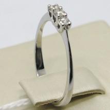 Anillo Oro Blanco 750 18K, Trilogy con Diamante Quilates 0.15 , Hecho en Italia image 2