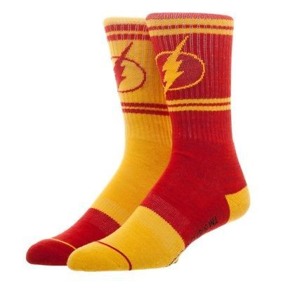 The Flash Flipped Colors DC Comics Adult Athletic Crew Mens Socks Nwt
