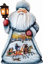 """G. Debrekht Carved Wood and Hand-Painted Santa Troika, 11"""" - $83.40"""