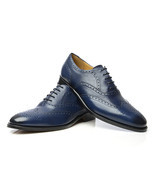 New Handmade Navy Brogue Wing Toe Dress Shoes, Men Leather Navy Dress Shoes - $157.97 - $167.97