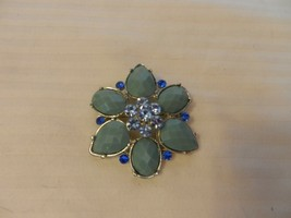 "Vintage Green, Blue and Clear Faux Stone Flower Design Broach 2"" diameter - $29.70"
