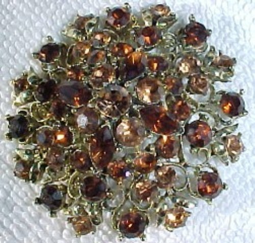Primary image for vintage-brooch-pin-shades of amber stones-crystals- all  faceted-cone like shape