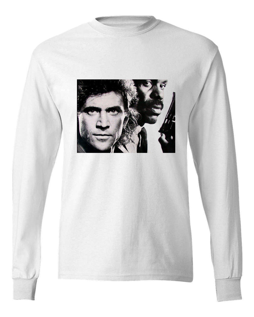 Lethal weapon retro 80 s t shirt mel gibson danny glover long sleeve white graphic tee