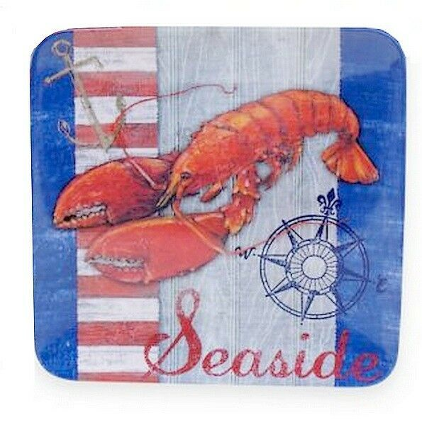"Lobster Certified International Melamine Salad Plates 8.5"" Set of 4 Beach House"