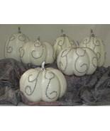 TWO'S COMPANY Decorative Autumn White Pumpkin Rhinestone Bling Accent LO... - $85.45