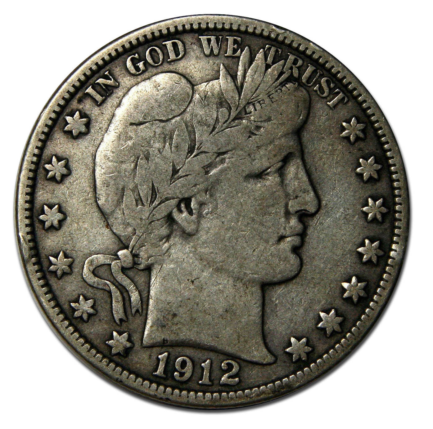 1912D Liberty Barber Head Half Dollar 50¢ Silver Coin Lot# A 728