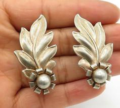 925 Sterling Silver - Vintage Modernist Floral Leaf Non Pierce Earrings ... - $32.07