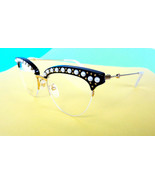 GUCCI Women's Optical Glasses Frame GG0213O 001 Black/Gold Pearls ITALY ... - $299.95