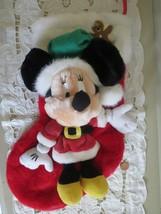 Vintage Minnie Mouse Christmas Stocking Plush Disney Store - $16.34