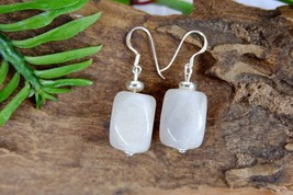 Simple White Stone Dangle Earrings for Minimalist, Sterling Silver - $9.00