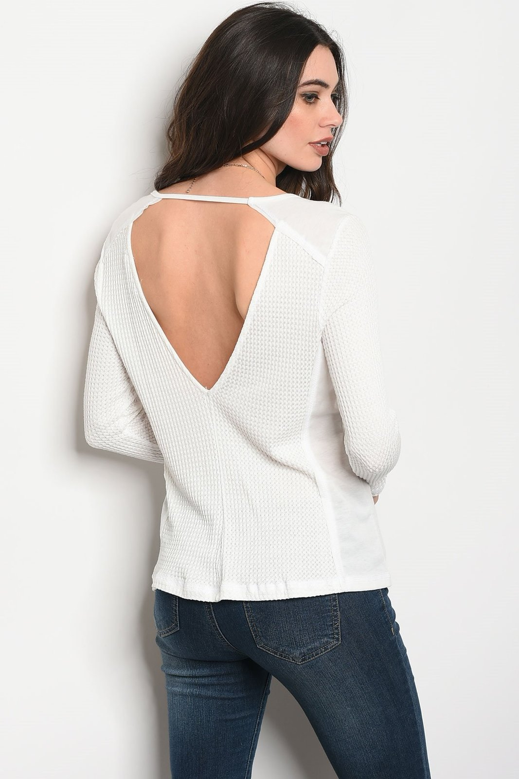 Ladies fashion long sleeve relaxed fit thermal top that features a v neckline image 2