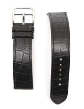 HERMES Black Leather Watch Strap Alligator Band Stainless Steel Buckle 16mm - $237.50