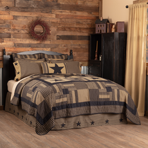 Rustic Black Check Star patchwork quilt all sizes Log cabin Vhc Brands  - $109.95+
