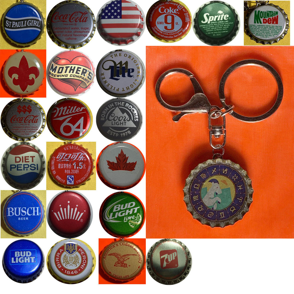 Constellation Capricorn Goat icon Coke Sprite Pepsi &more Soda beer cap Keychain