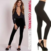 Black High Rise Tummy Control Fleece Leggings Not See Thru Stretchy Loun... - $27.12