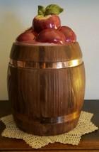 """Vintage Metlox Cookie Jar ~ Barrel & Apple Design Cookie Jar ~ 11"""" Tall - $79.20"""