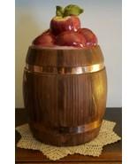"""Vintage Metlox Cookie Jar ~ Barrel & Apple Design Cookie Jar ~ 11"""" Tall  - $40.00"""