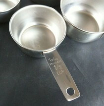 Vtg 4 FOLEY Stainless Steel Measuring Cups 1 1/2 1/3 1/4 Made USA Script... - $32.73