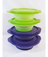 Tupperware Flat Out Expandable Space Saver Storage Bowl Container 4 Pc 7... - $24.74