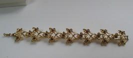 Vintage Coro Gold-tone Purple Rhinestone Faux Pearl Floral Bracelet - $32.18