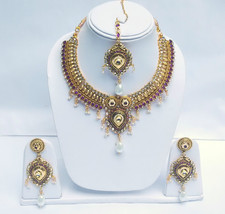 Indian Traditional Gold Plated Polki Pearl Purple Necklace Earrings Set Jewelry - $13.57