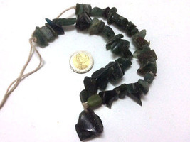 150 BC ANCIENT FRAGMENTS SHARDS OF ROMAN GLASS BEADS 1 STRAND AQUA GREEN... - $9.90