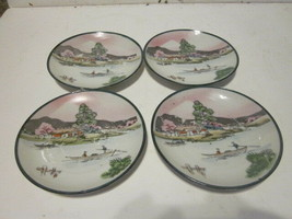 4 VINTAGE JAPANESE PORCELAIN HAND PAINTED PEOPLE IN BOAT BY HOUSE SAUCERS - $9.99