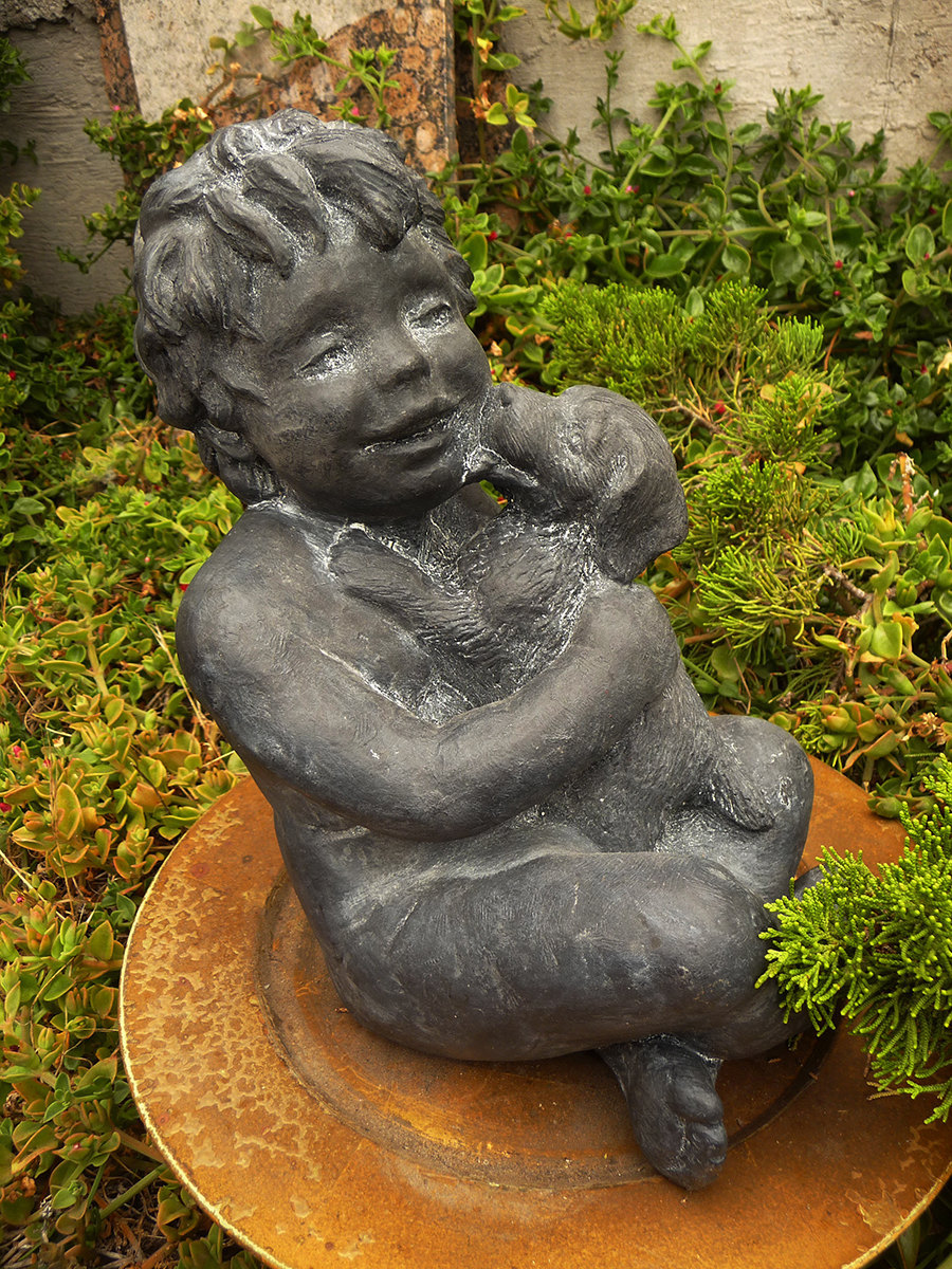 Child with Dog Vintage GARDEN SCULPTURE Laughing Child Embracing Kissing Pup Cas - $85.00