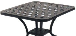 Outdoor end table 21 small square cast aluminum patio furniture side balcony image 2