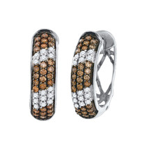 10kt White Gold Round Cognac-brown Colored Diamond Hoop Earrings 1.00 Ctw - $643.88