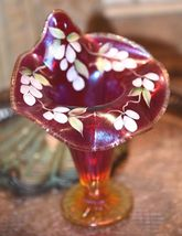 "Fenton Cranberry Amberina Opalescent Fine Rib Jack-In-The-Pulpit Hand Painted 7"" image 9"