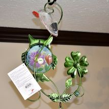 Painted Metal Owl & Blue Glass Bottle Garden Hanging Hummingbird Nectar Feeder image 6