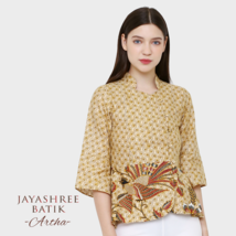 Jayashree Artha Blouse Brown Woman Batik Made in Indonesia - $59.00