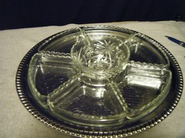 LAZY SUSAN CHROME TRAY GLASS BOWLS ALL NEW IN BOX - $13.86