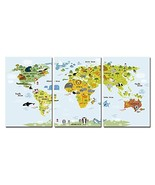 TONZOM Canvas Wall Art Abstract World Map Painting for Home Decor 3 Pane... - $45.67