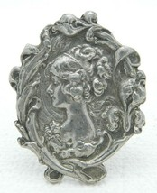 Repousse Cameo Brooch Scroll Floral Work Signed HNO Cast Pewter - $37.62