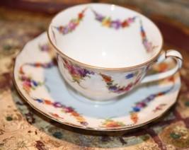 VINTAGE Epiag PORCELAIN TEA CUP & SAUCER DRESDENFloral Swag #99510 Czech... - $24.99