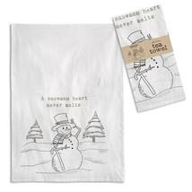 Farmhouse (4pk) A SNOWMANS HEART TEA TOWEL Dish Rag Country Christmas Ki... - $42.99