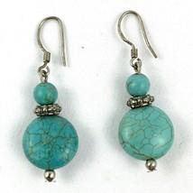 Sterling Silver 925 Vintage Turquoise Oval Drop Dangling Pierced Earrings - $42.77
