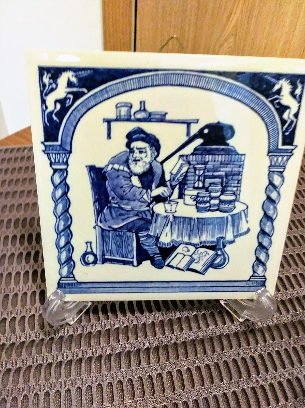 "Vintage 3 Blue Delft Holland Tiles Handmade  Pharmacy School Tiles  5.75"" x 5.75"