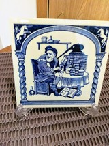 "Vintage 3 Blue Delft Holland Tiles Handmade  Pharmacy School Tiles  5.75"" x 5.75 image 1"