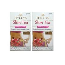 2 PACK of Hyleys Slim Tea Pomegranate Green Tea 100% Natural (25 tea bags each) - $10.99