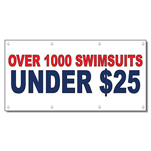 Over 1000 Swimsuits Under $25 Red Blue 13 Oz Vinyl Banner Sign With Grommets 3 F