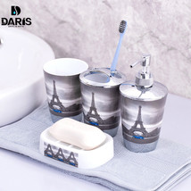 4pcs Paris Eiffel Tower Bathroom Set Toothbrush Holder Tumbler Soap Disp... - £14.31 GBP