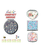 Floral pattern makeup mirror compact mirror purse mirror travel mirror - $11.99