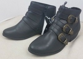 Brand New Girl's Art Class Blanche Buckle Side Zipper Black Ankle Boots NWT