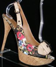 Guess 'Delightful' floral peep toe buckle slingback cork platform heel 8M - $34.08